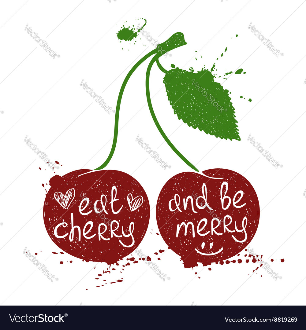 Of isolated cherry silhouette vector