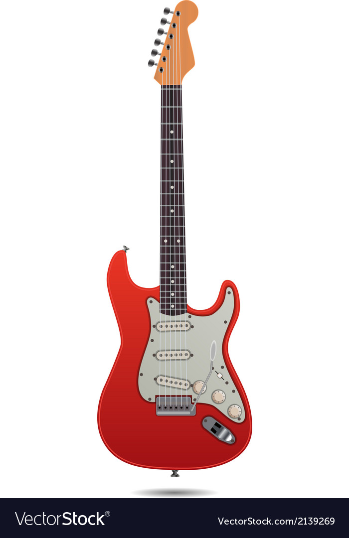 Red electro guitar vector