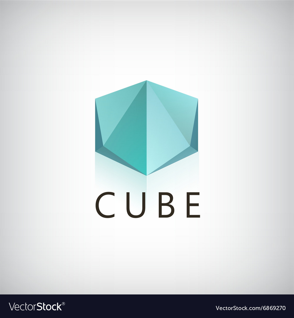Abstract cube geometric 3d logo icon vector