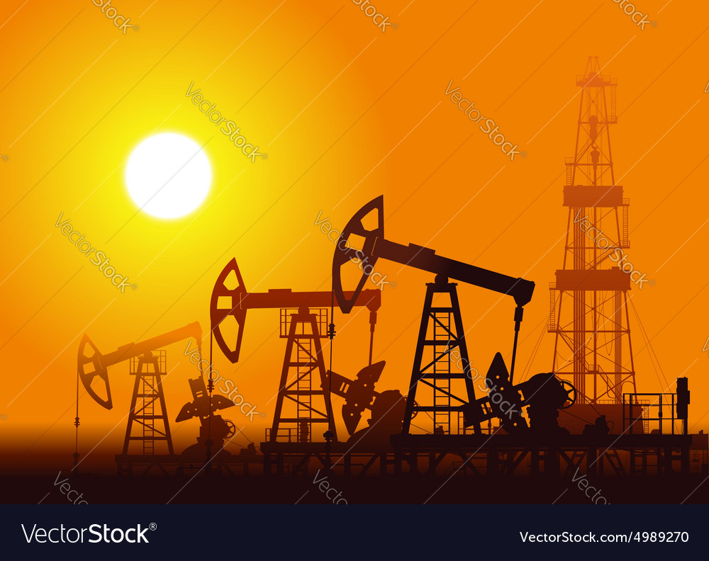 Oil pumps and rig over sunset vector