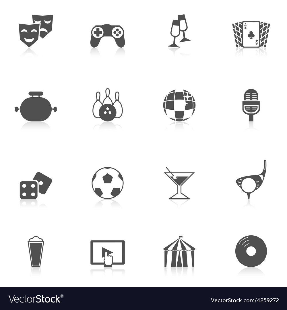 Entertainment icons black vector