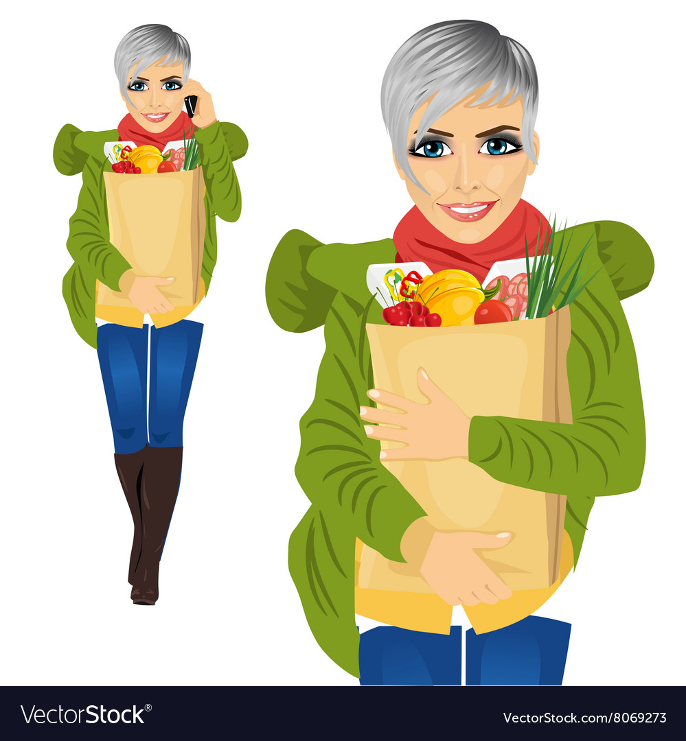Attractive woman carrying grocery paper bag vector