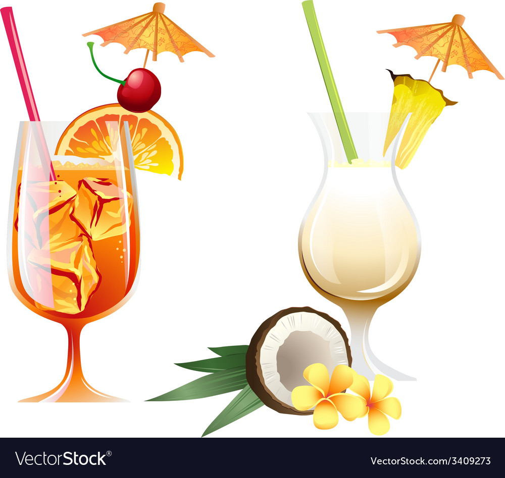 Set of beach tropical cocktails bahama mama and vector