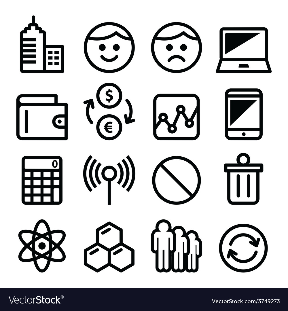 Web menu internet line stroke icons set  tech vector