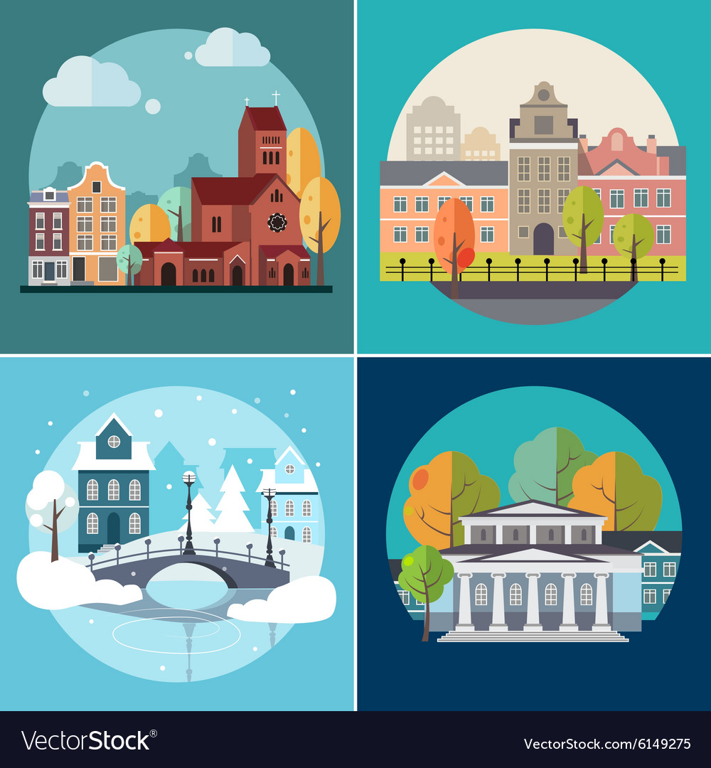 City and town buildings landscapes vector
