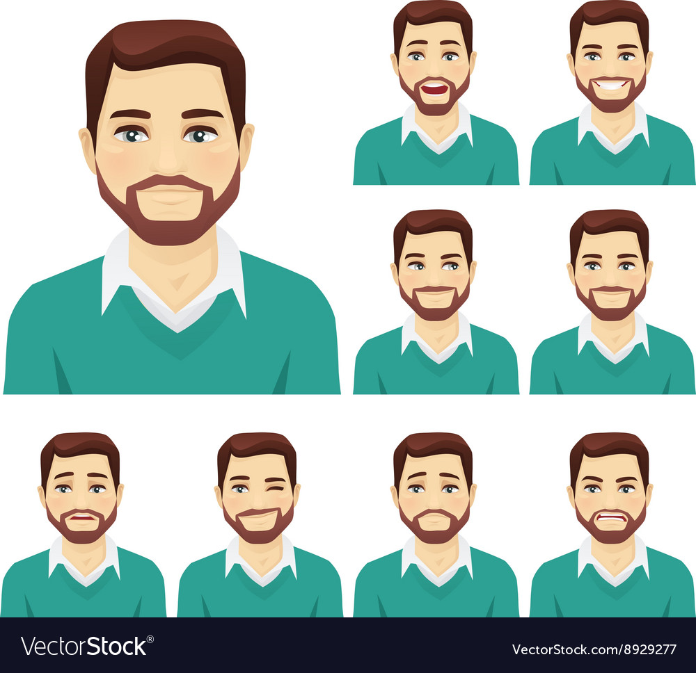 Beard man expression set vector