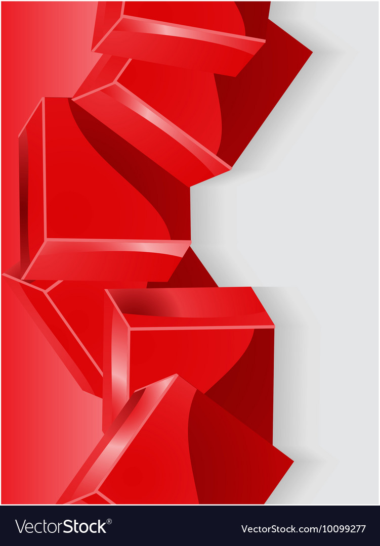 Red geometric cube 3d portrait background vector