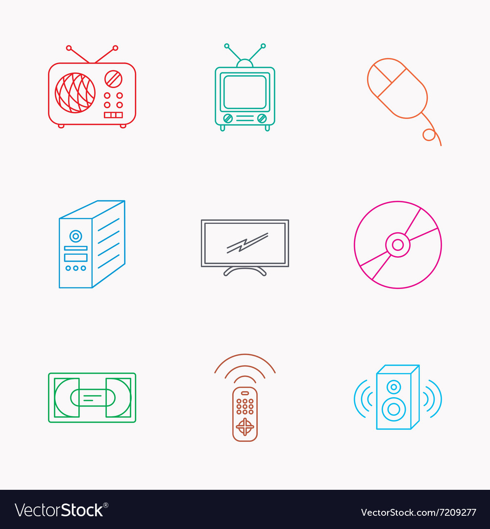 Retro tv radio and dvd disc icons vector