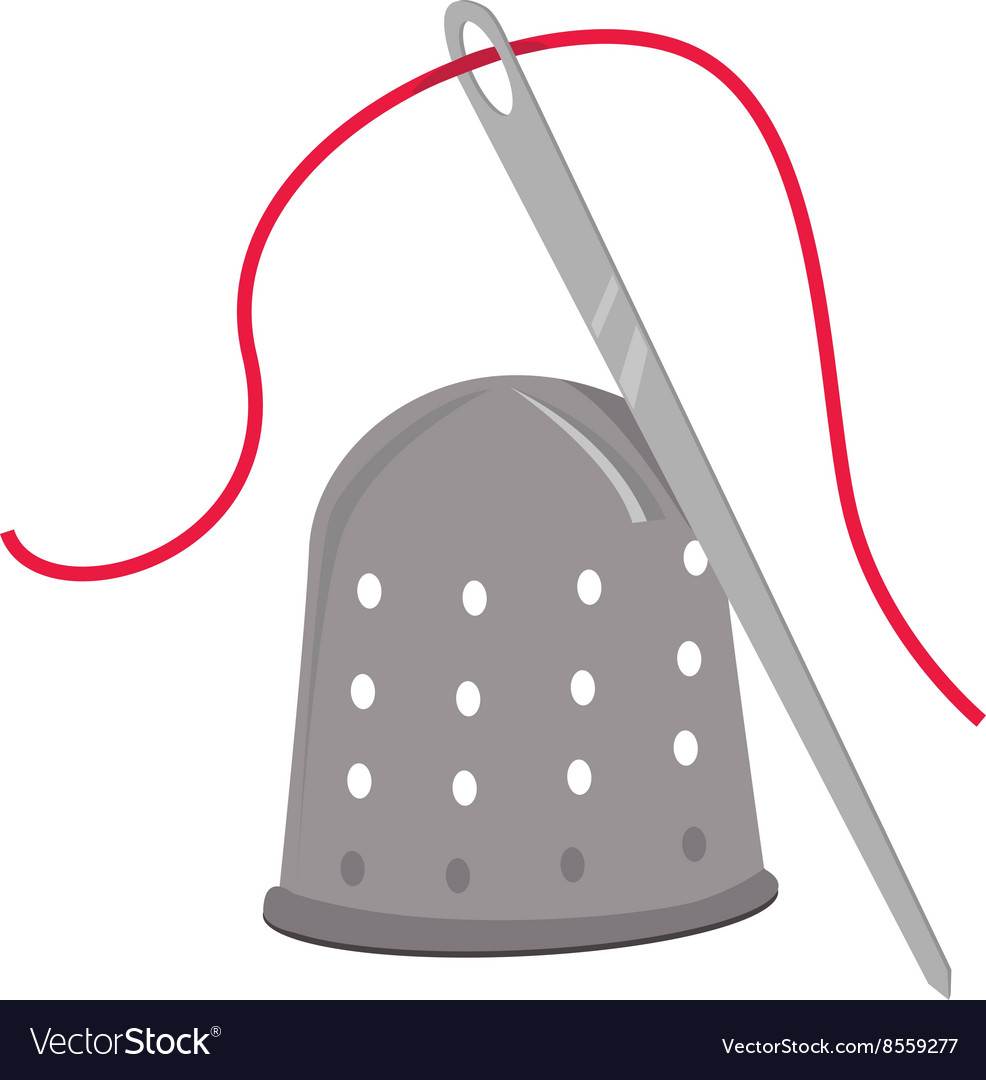 Thimble and needle vector