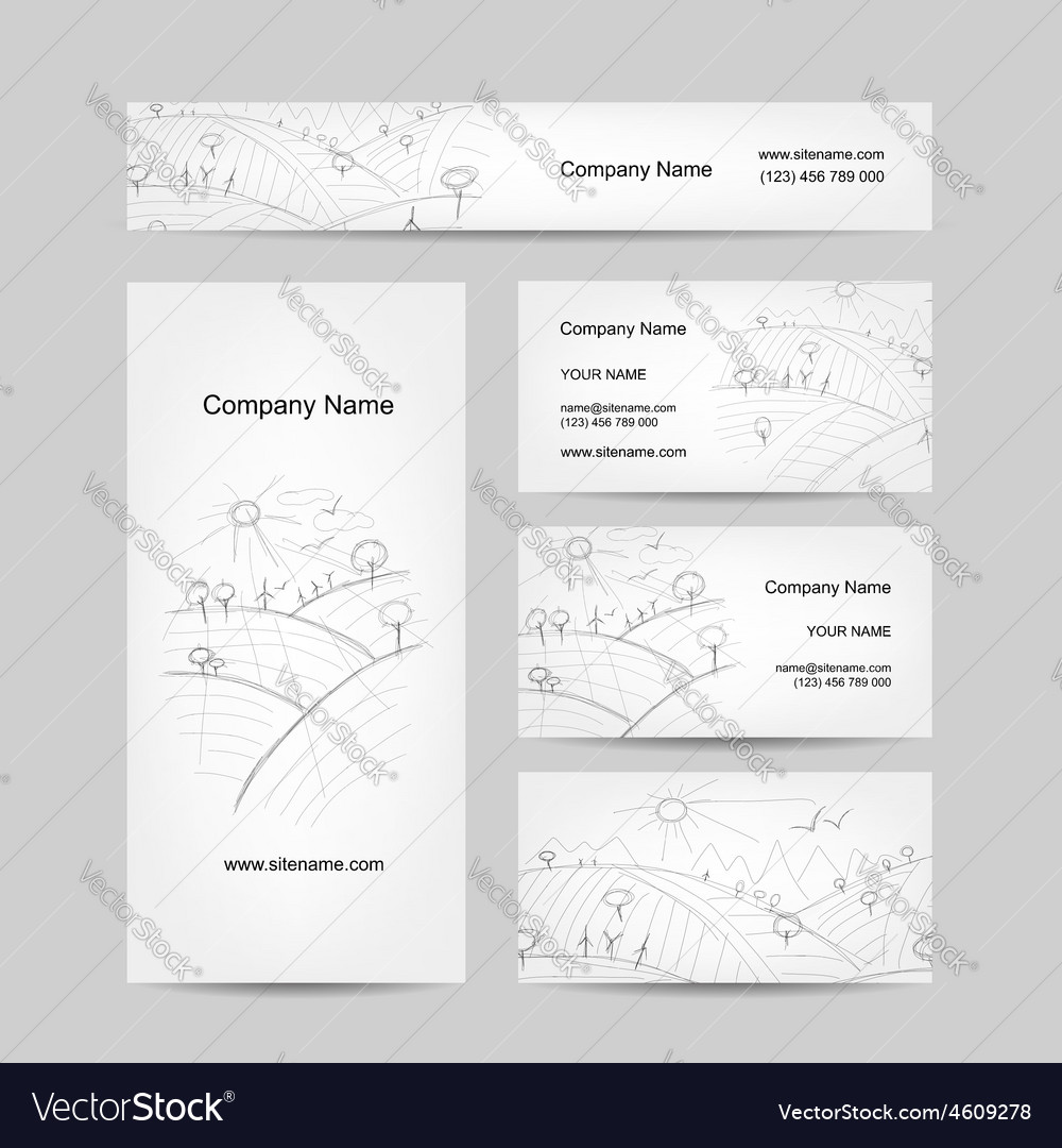 Autumn field sketch business cards design vector