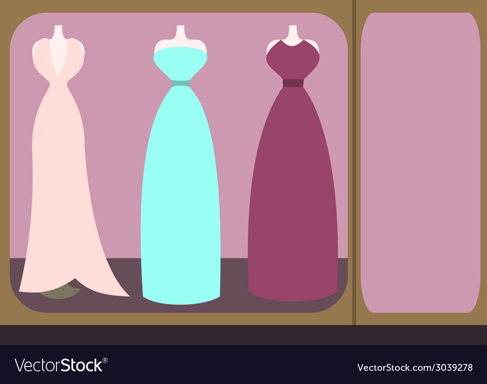 Fashion shopfront window with mannequins vector