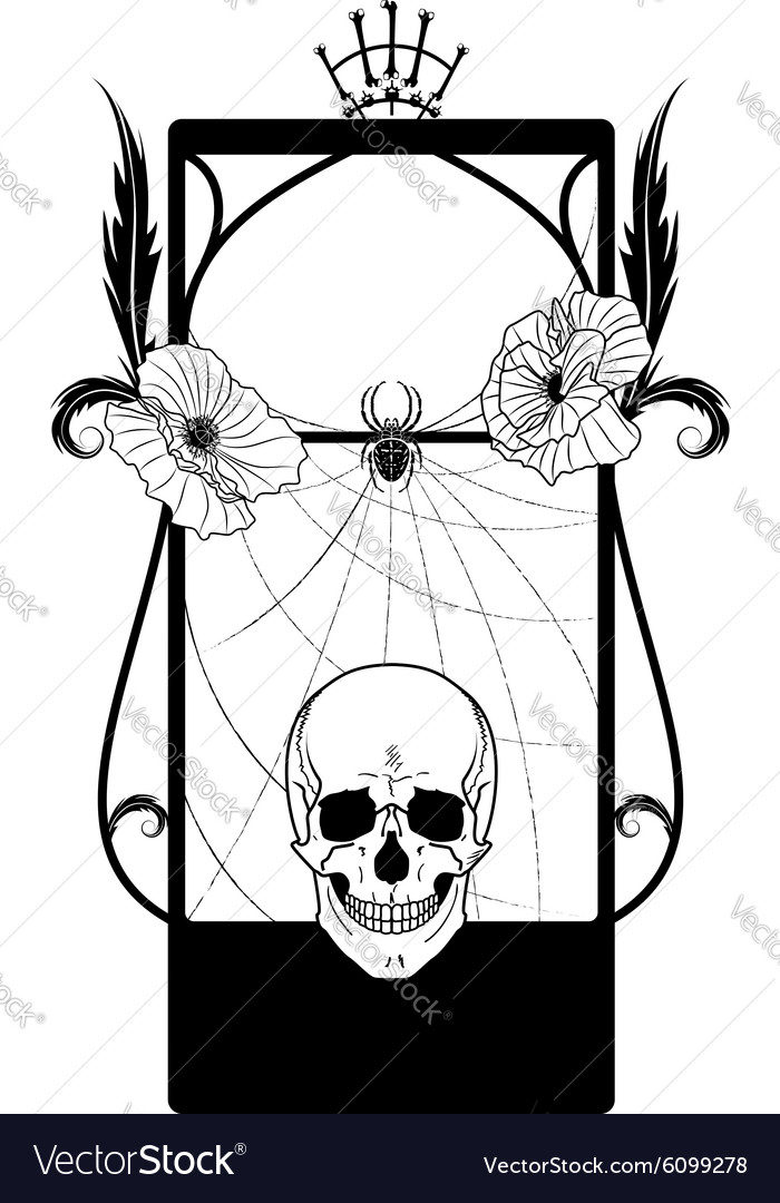 Frame with skull and poppies vector