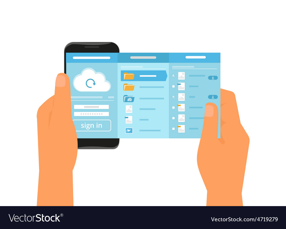 Mobile app for cloud sync vector