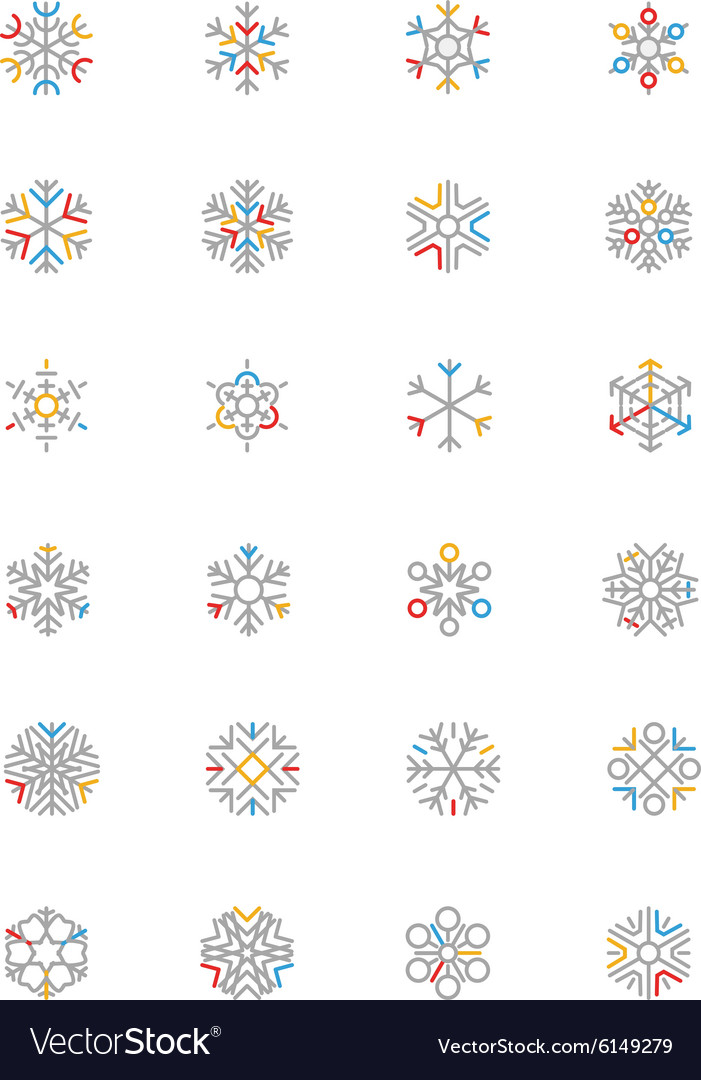 Snowflake colored outline icons 1 vector