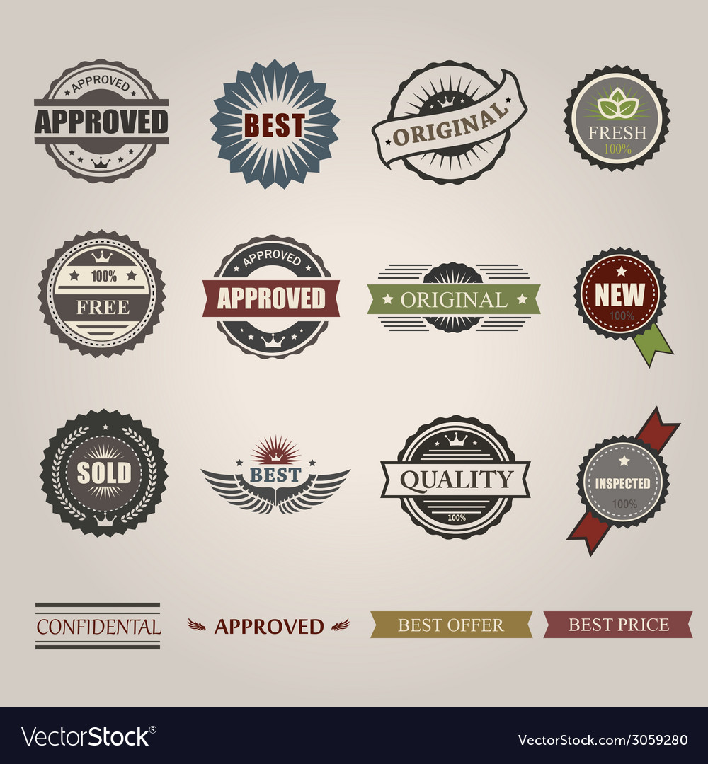 Commercial stamps set in vintage style for vector
