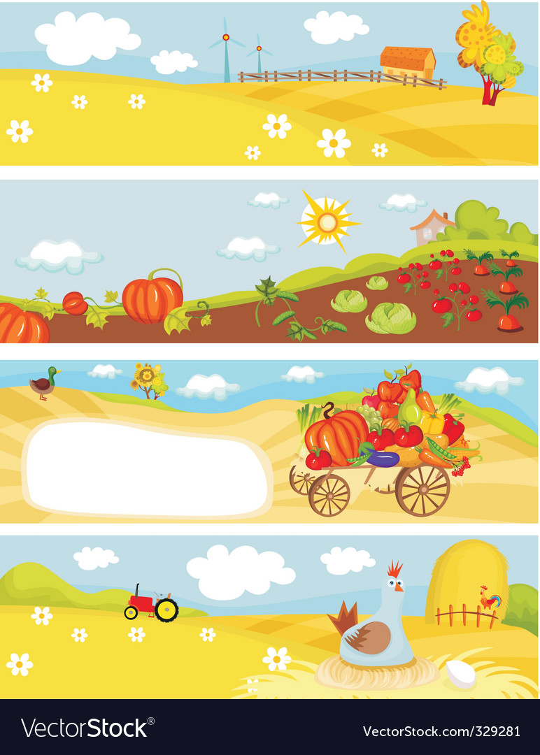 Farm cards vector