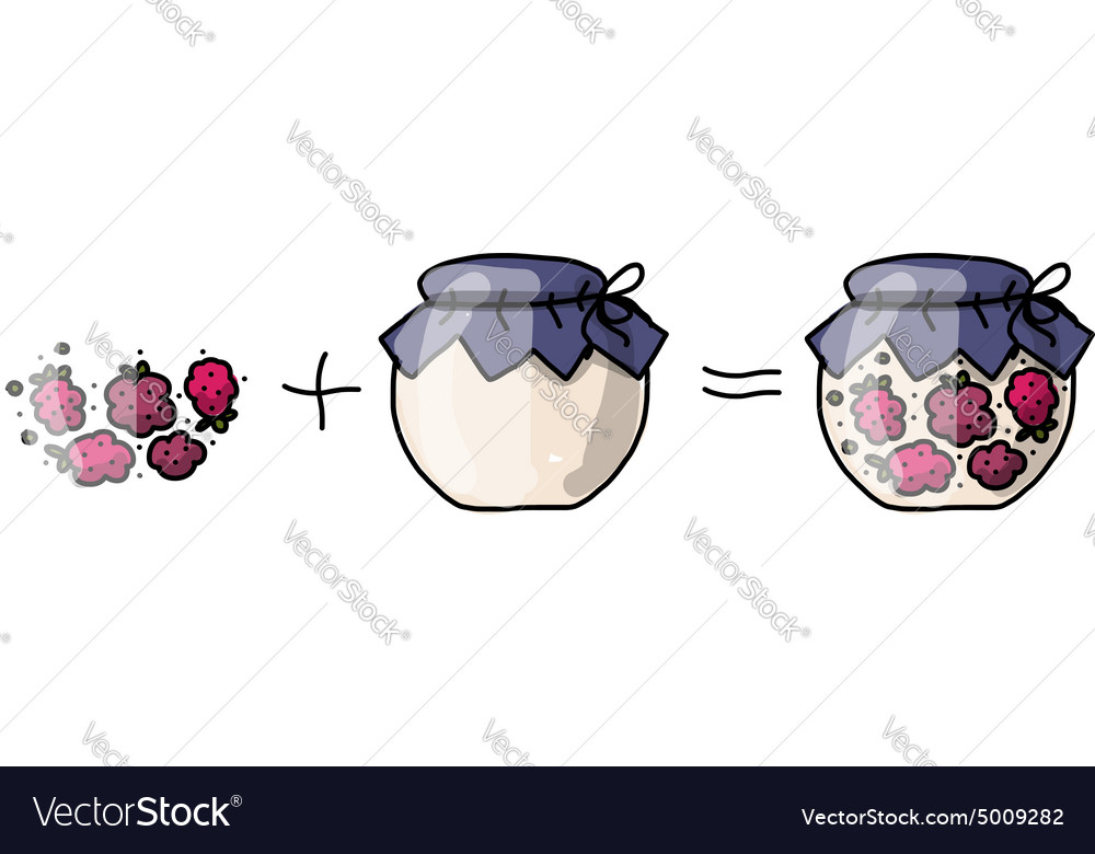 Jar with raspberry jam sketch for your design vector