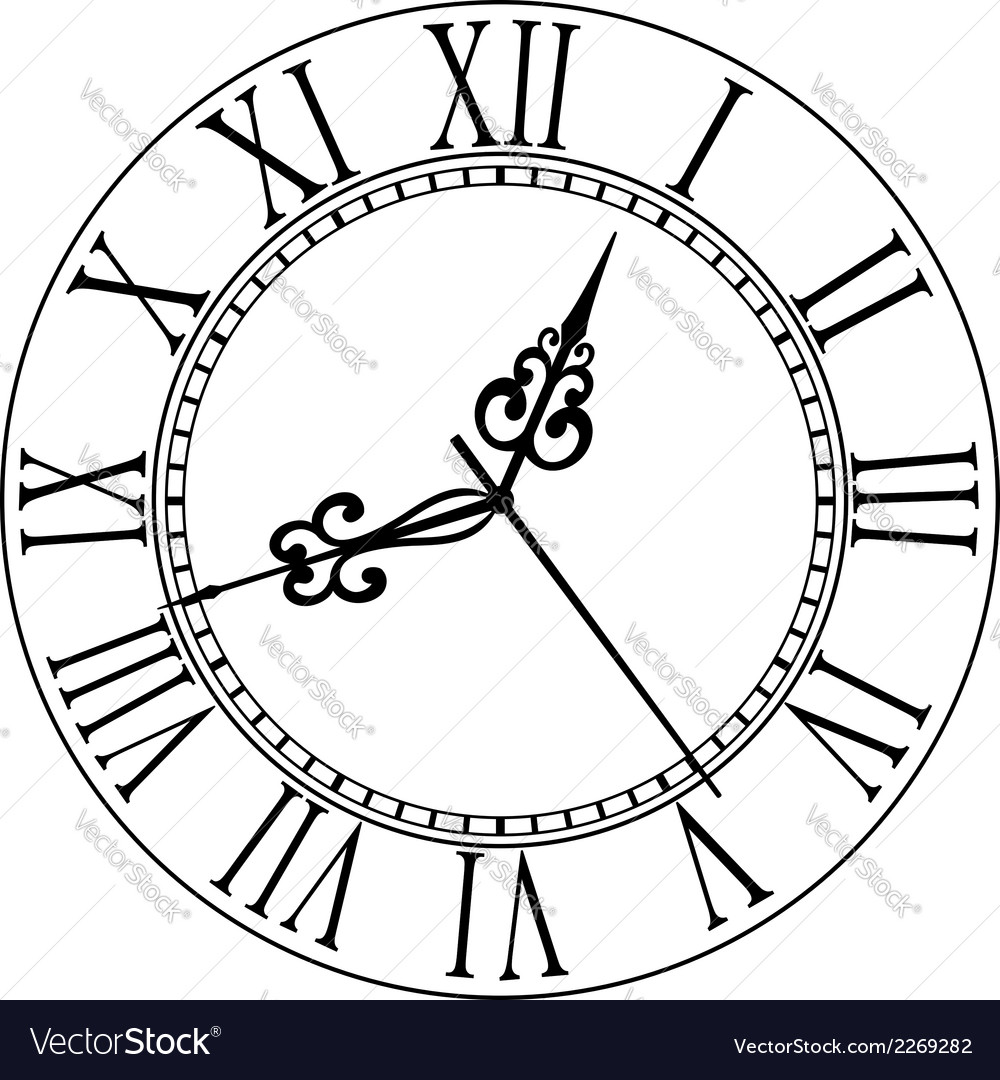 Old clock face with roman numerals vector