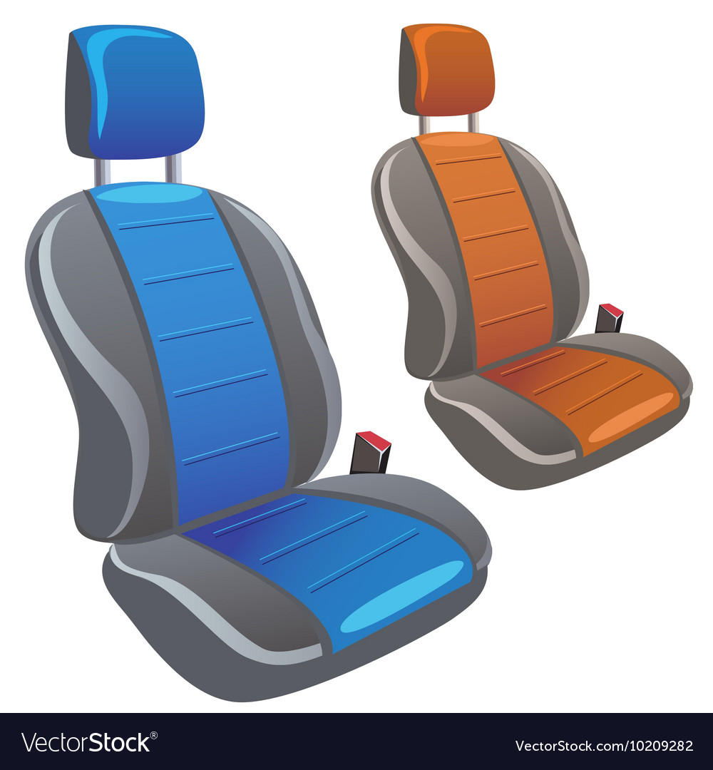Two car sport seats in different colors vector
