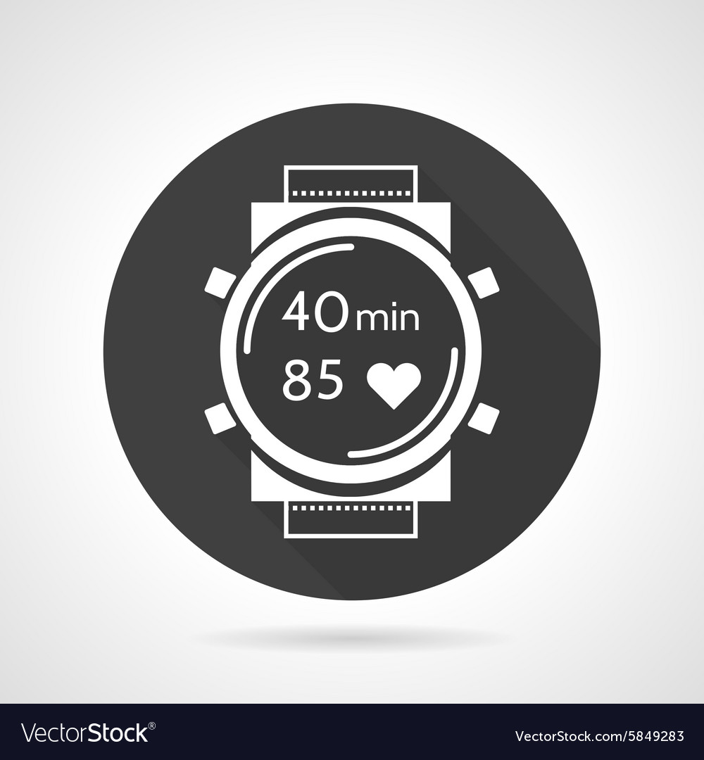 Black round icon for sports watch vector