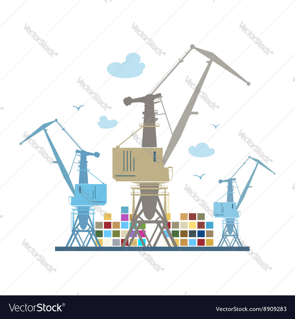 Cargo cranes isolated on white vector