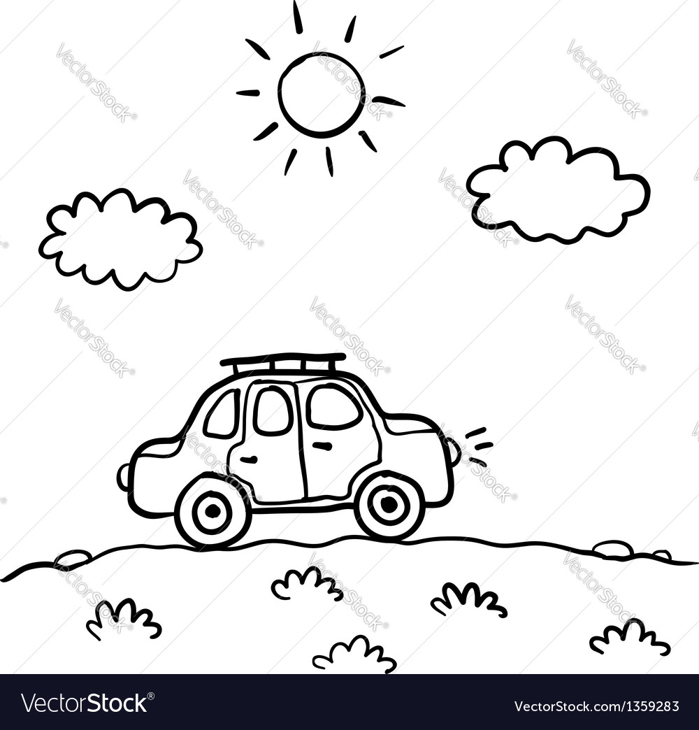 Little cartoon funny car vector