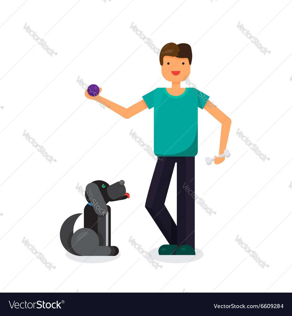 Happy man with lovely dog vector