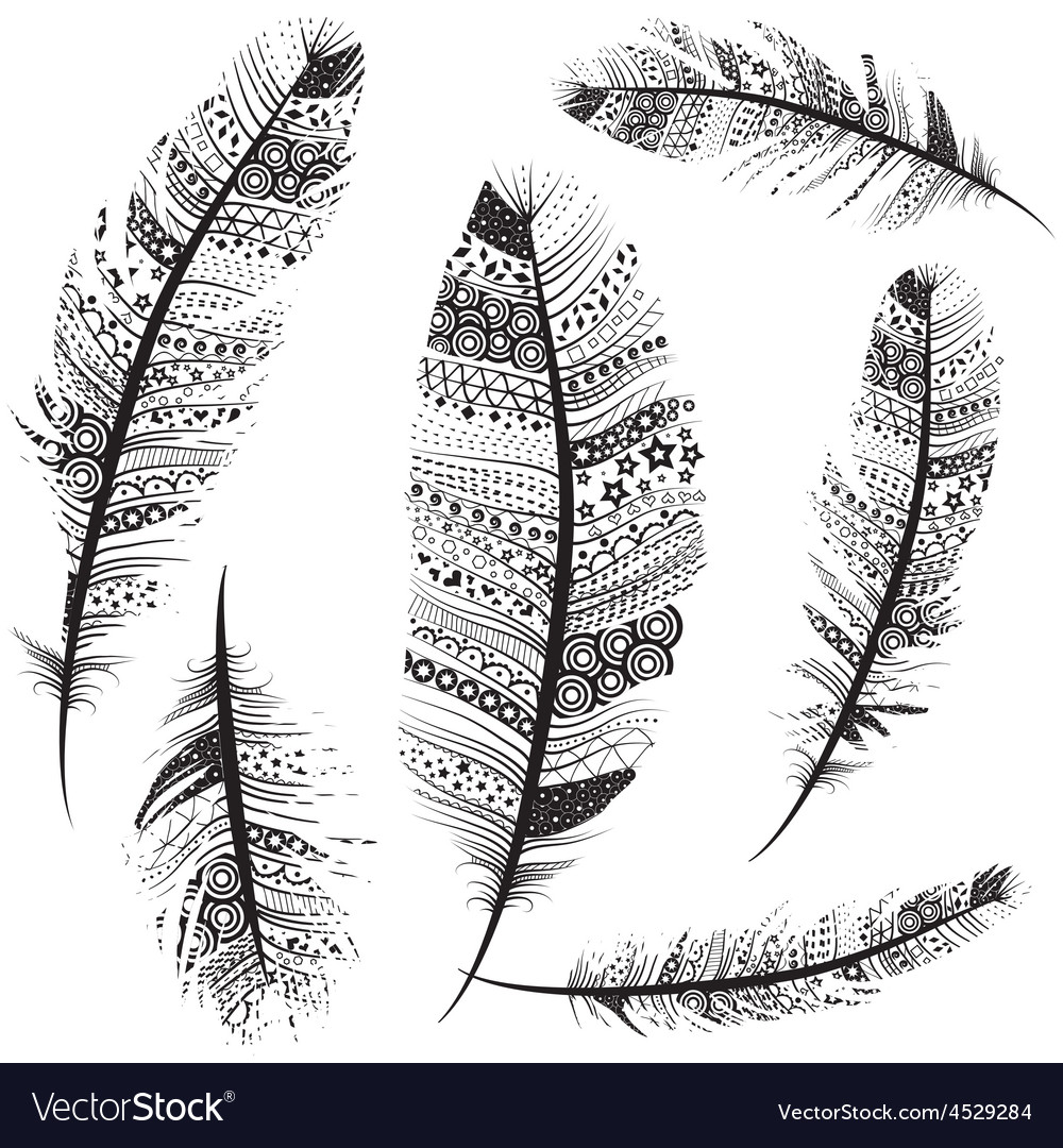 Seamless feather pattern background vector