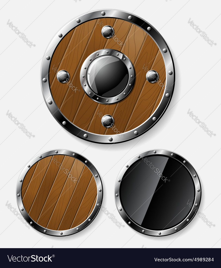Set of round shields isolated on grey vector