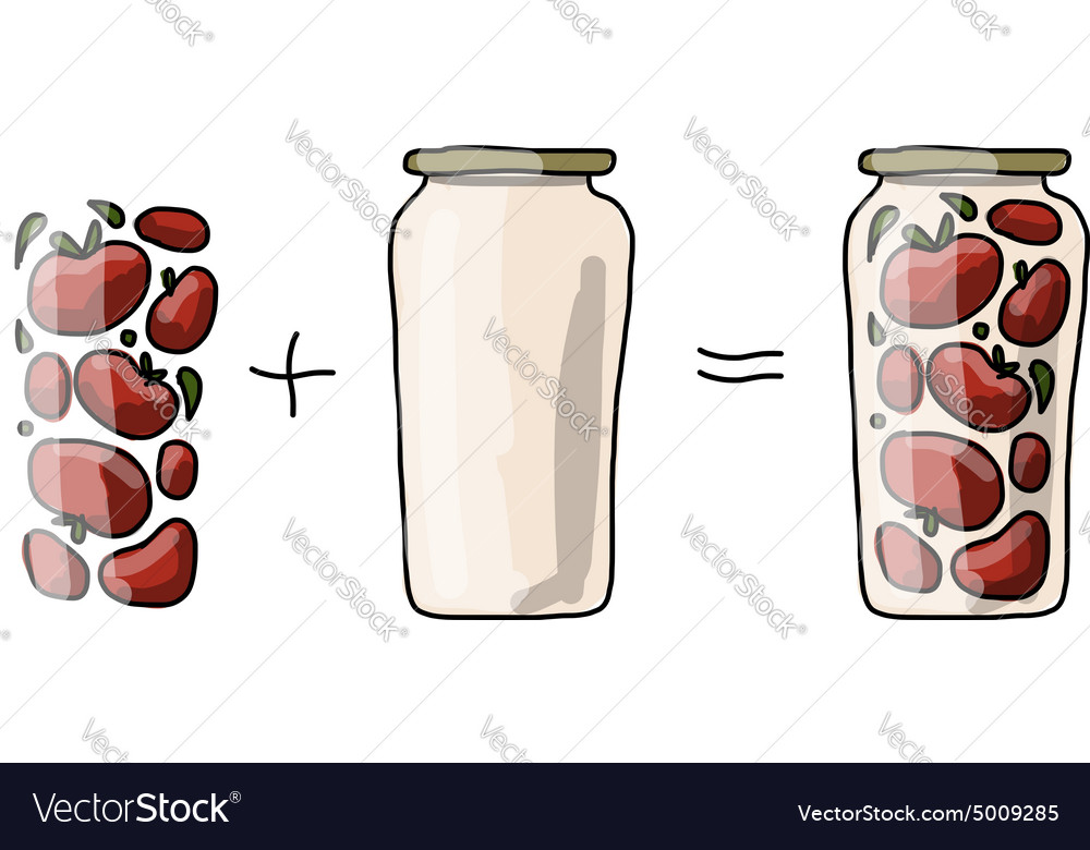 Bank of pickled tomatos sketch for your design vector