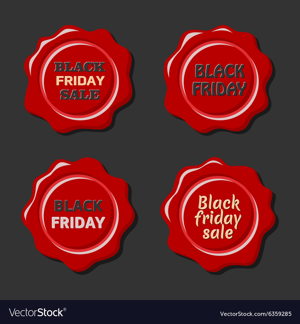 Black friday set of red wax stamps vector