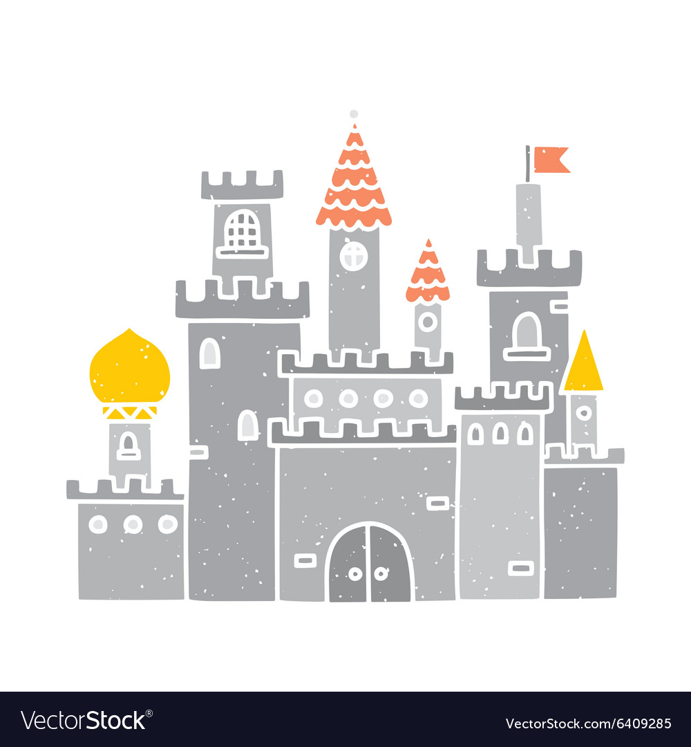 Cartoon castle isolated grey vector