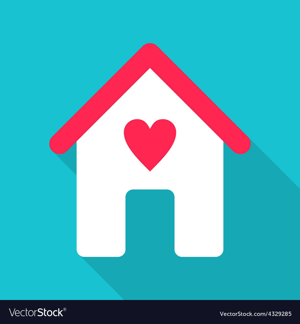Flat design house icon with red heart vector