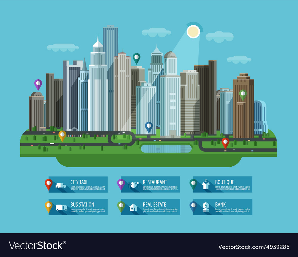 Modern city set of elements  building house vector