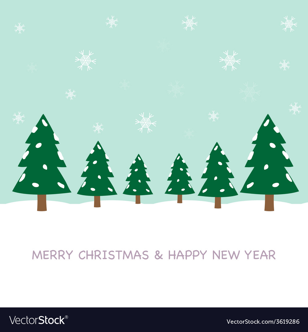 Christmas tree cartoon and snow vector