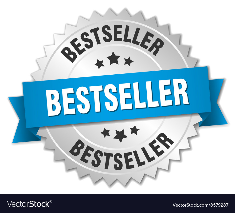Bestseller 3d silver badge with blue ribbon vector