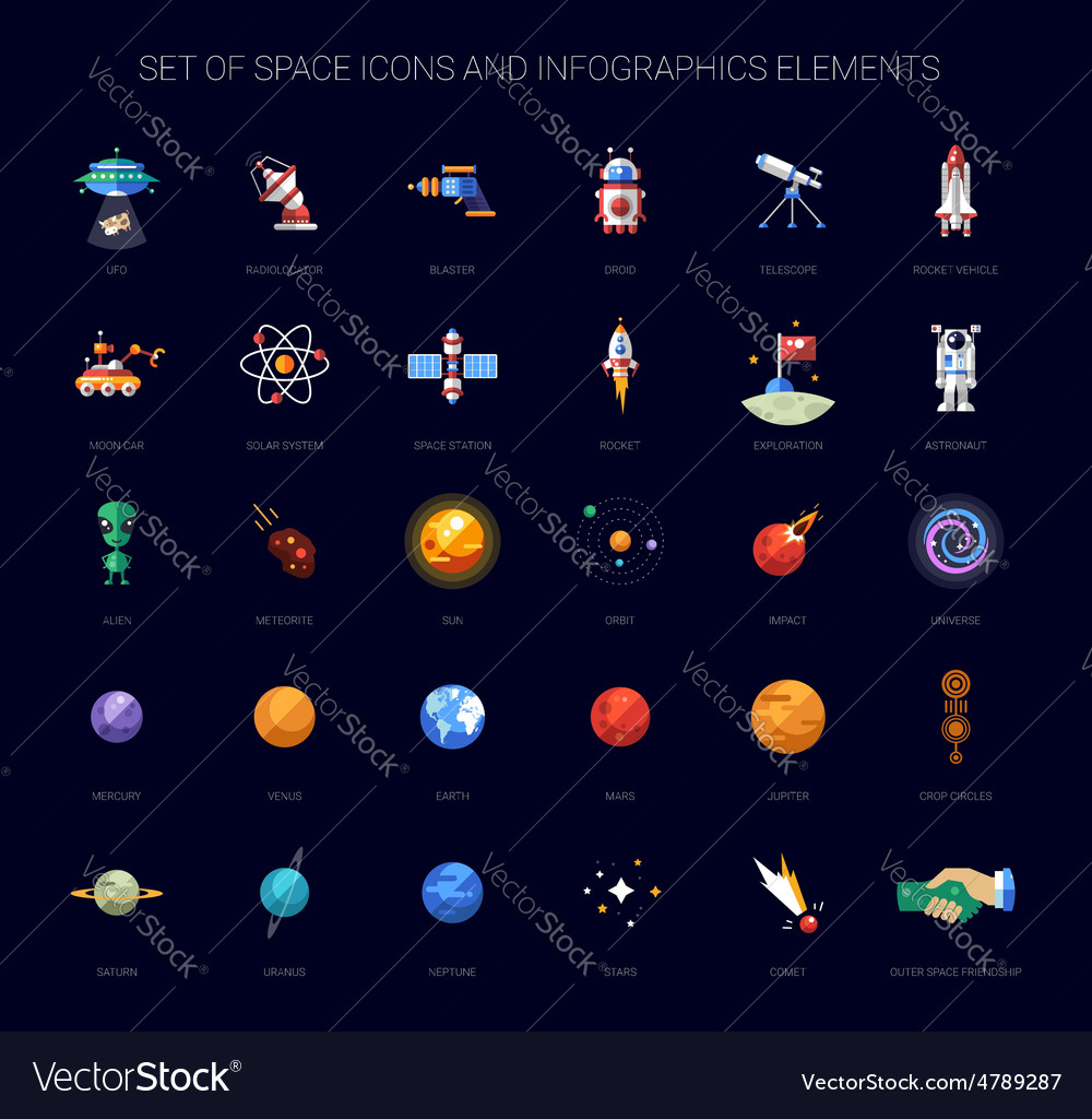Set of space icons and infographics elements vector