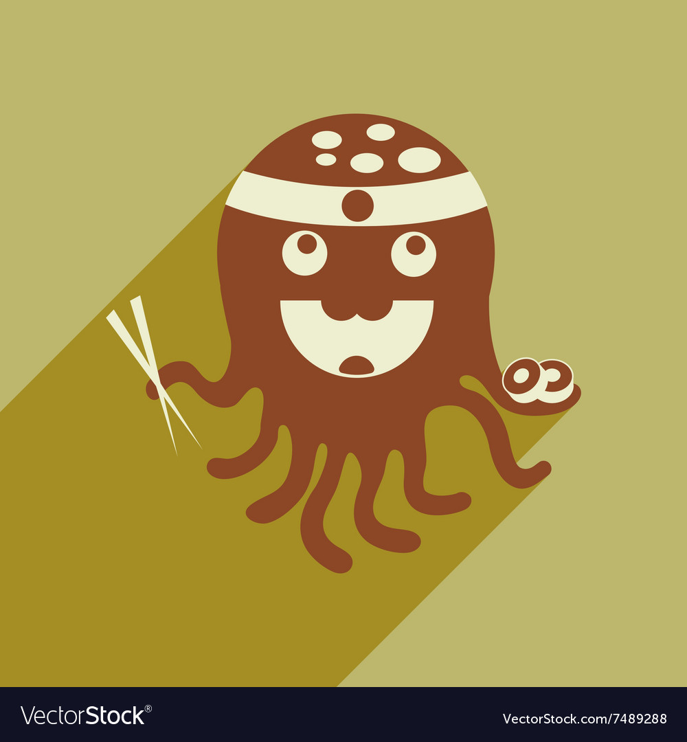 Flat icon with long shadow octopus sushi vector