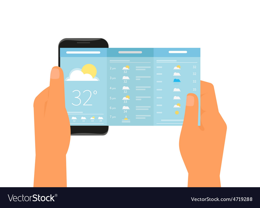 Mobile app for weather forecast vector