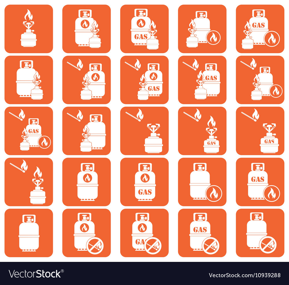 Set of camping stove and gas bottle icon vector