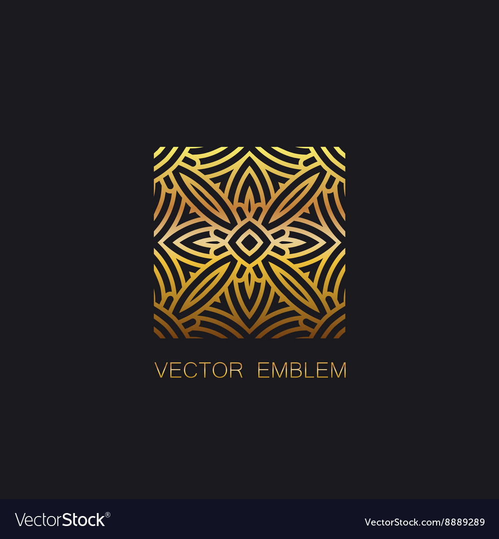 Artdeco golden emblem vector