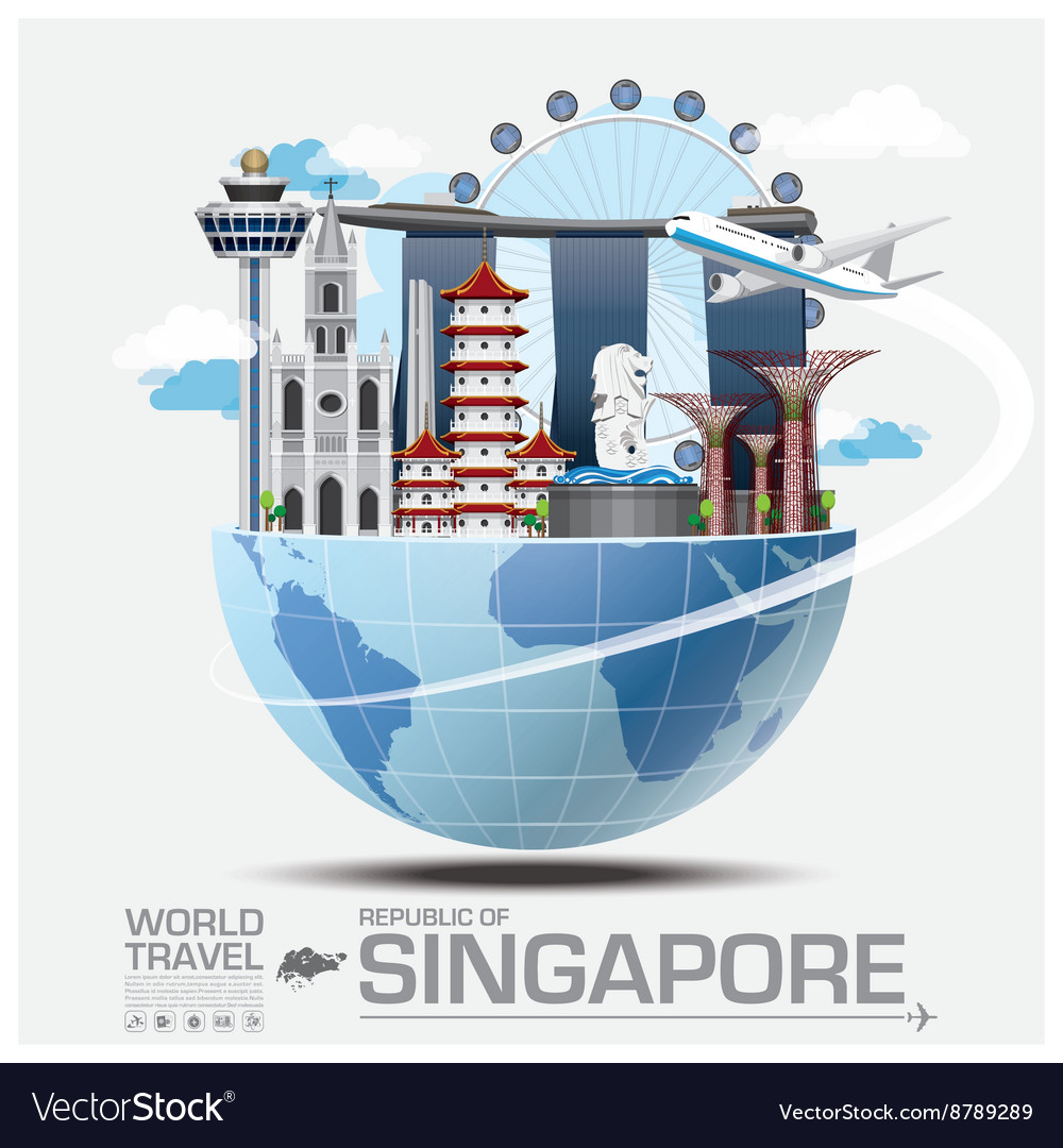 Singapore landmark global travel and journey vector