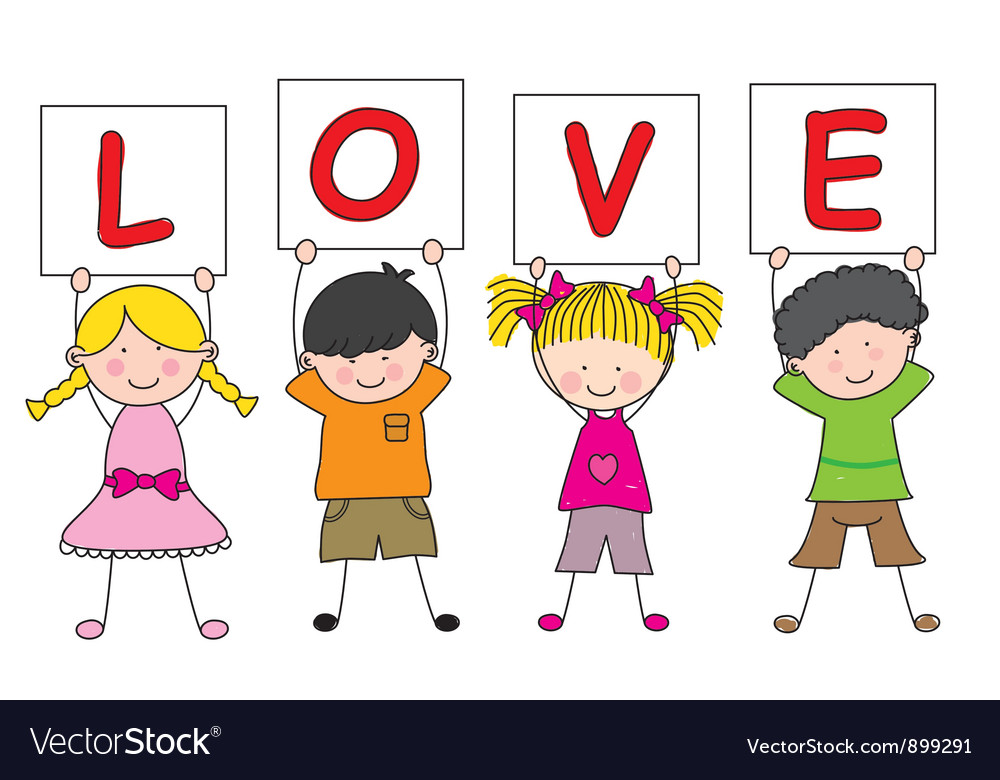 Children with a sign saying love vector