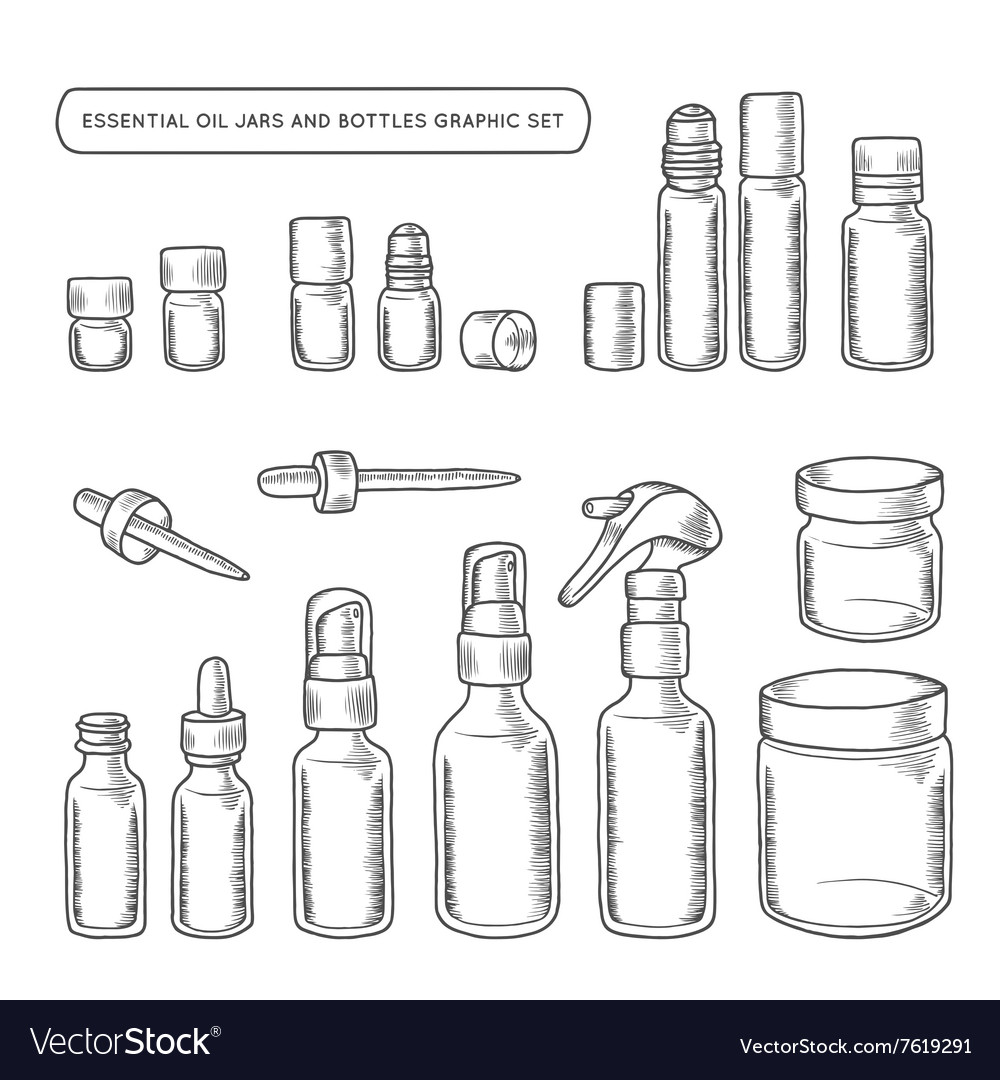 Essential oil jars and bottles hand drawn graphic vector