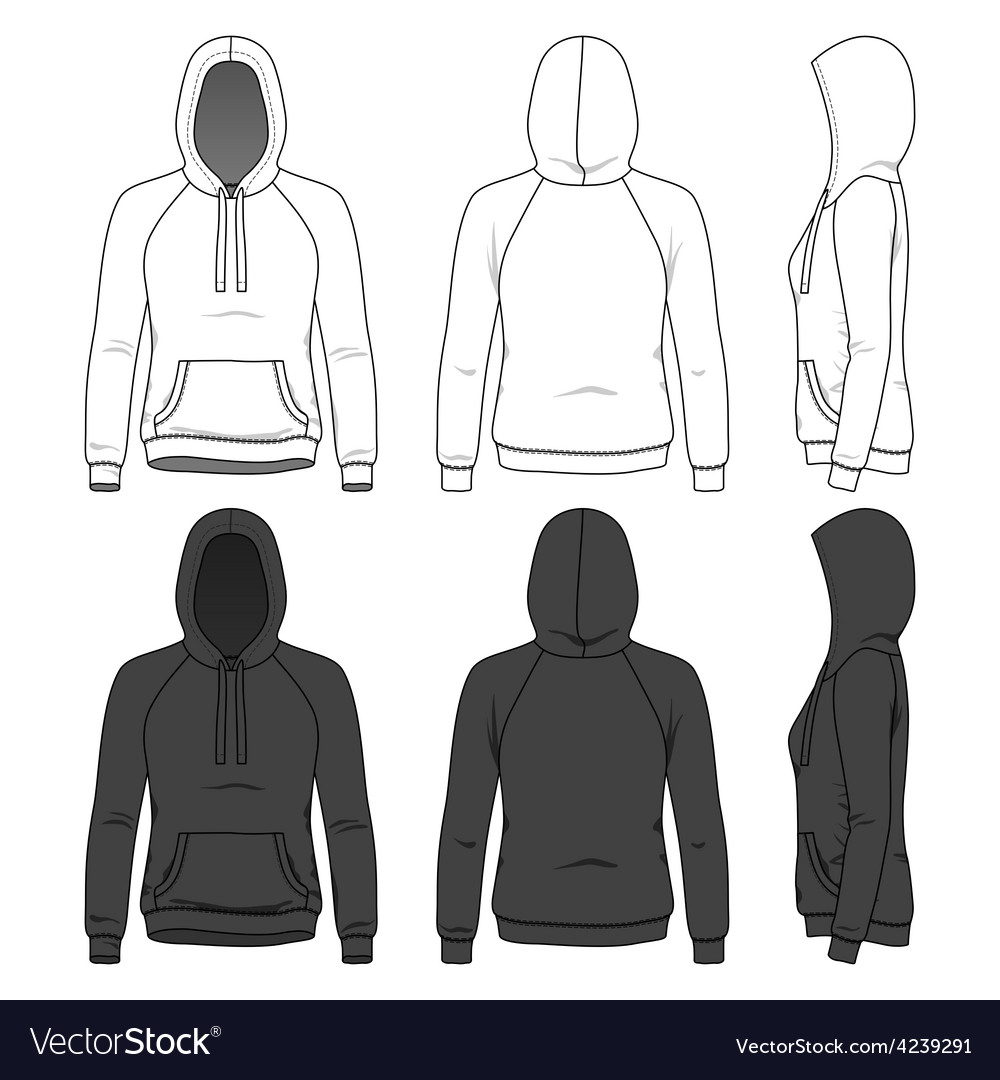 Front back and side views of blank hoodie vector