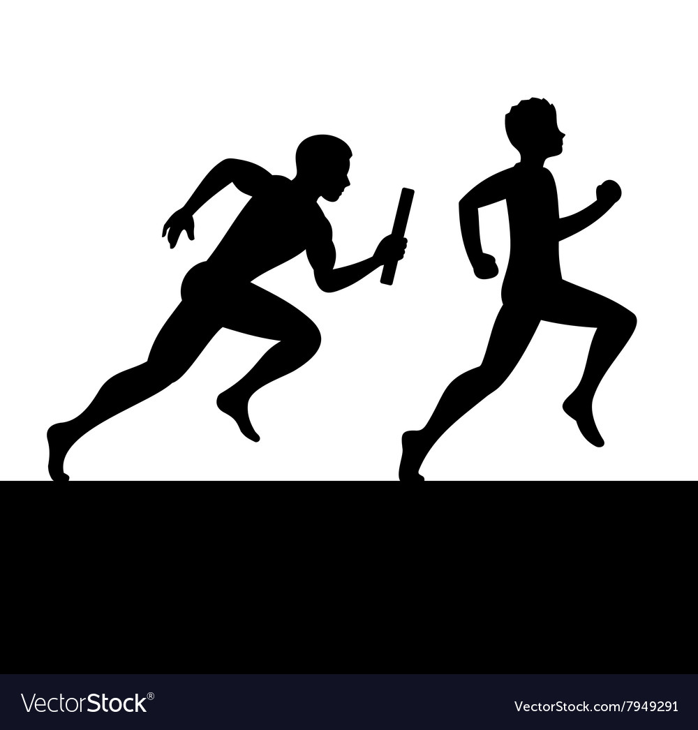 Relay with two people passing baton vector