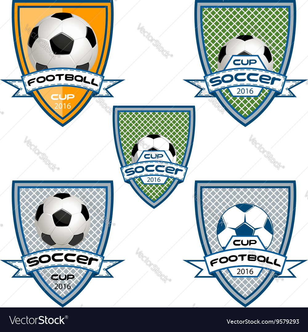 Set football logo for the team and the cup vector