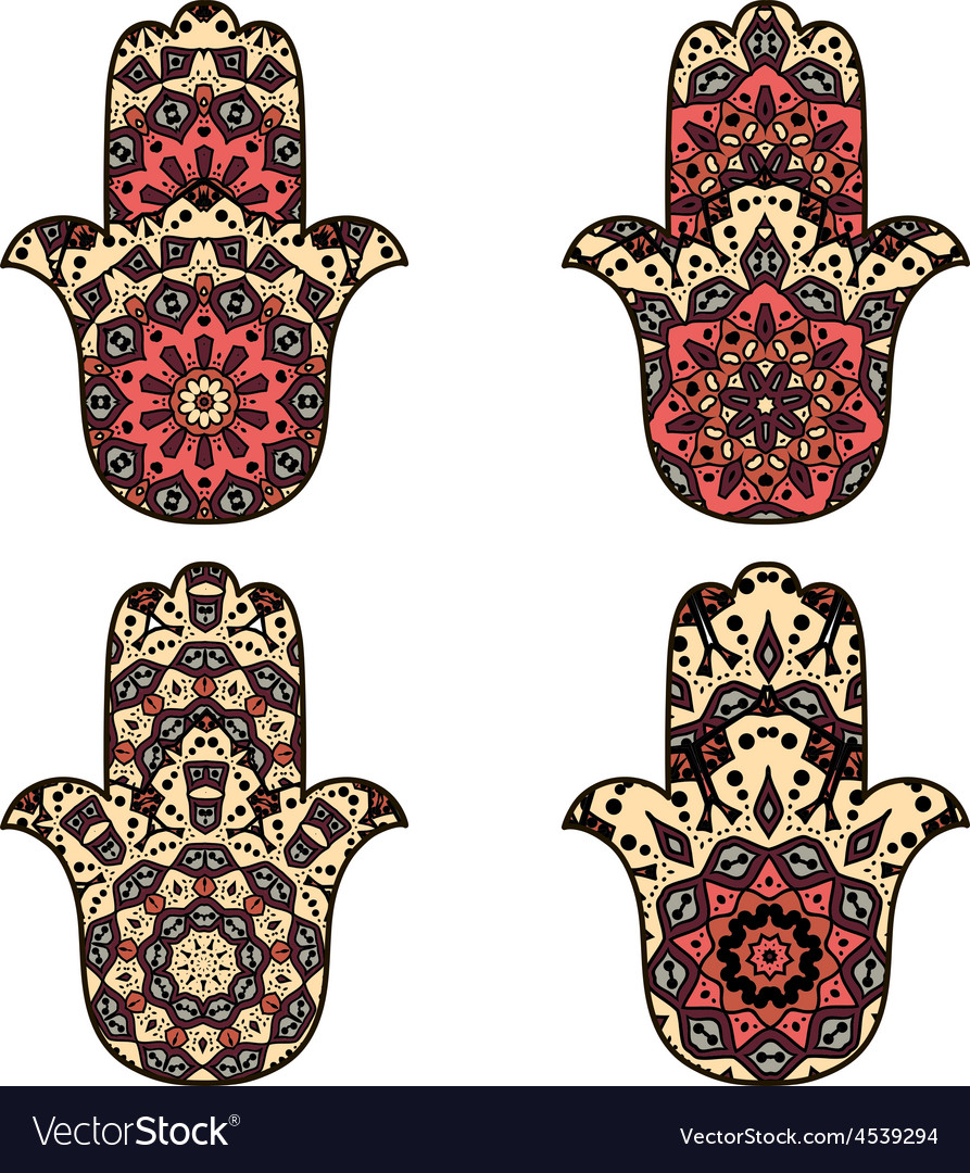 Set of beige orange hamsa vector