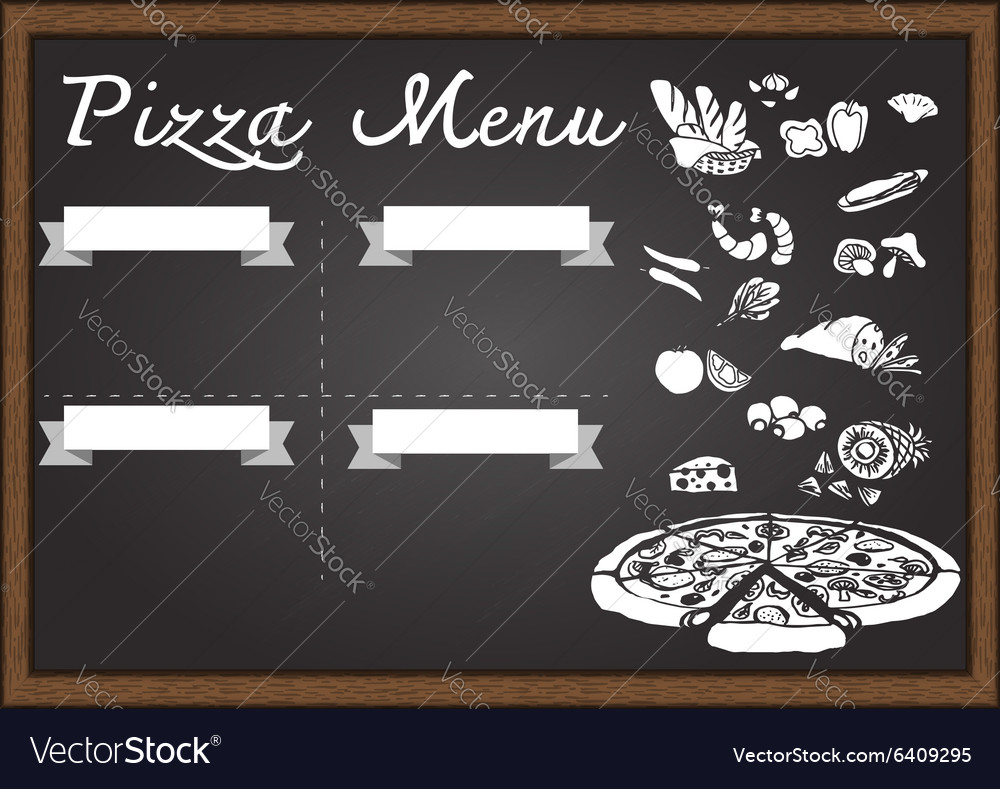Pizza menu on chalkboard vector