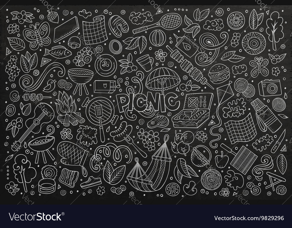 Chalkboard doodle cartoon set of picnic vector